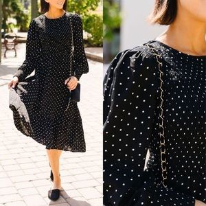 Smocked Polka Dot Black Midi Dress